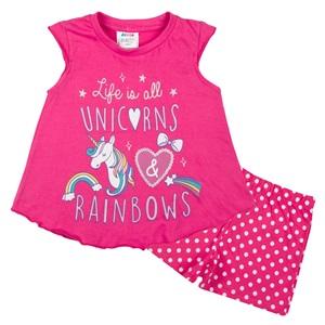 Πυτζάμες Παιδικές Φούξια Μονόκερος Πουά Σορτσάκι 634481f83c3
