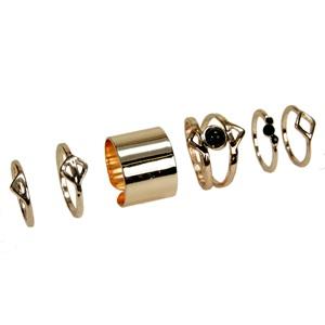 Δαχτυλίδια Γυναικεία Ροζ Χρυσά - 6 τμχ. 8ad5677bd62
