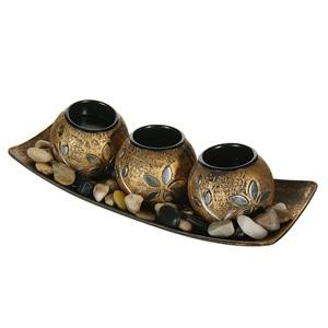 Set de bază, lumanare din bronz și pietre decorative 4 buc.