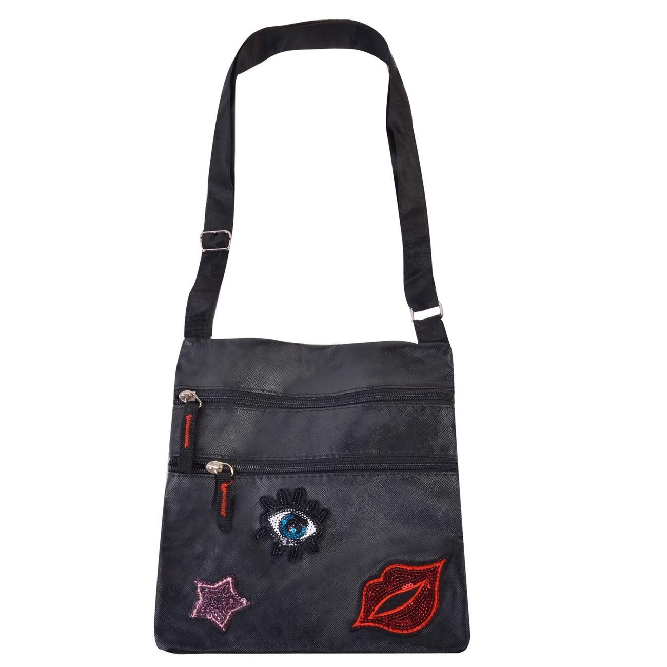 8d0dfa2133 Τσάντα Μαύρη Patch 21x23   Τσάντες Ώμου-Χιαστί