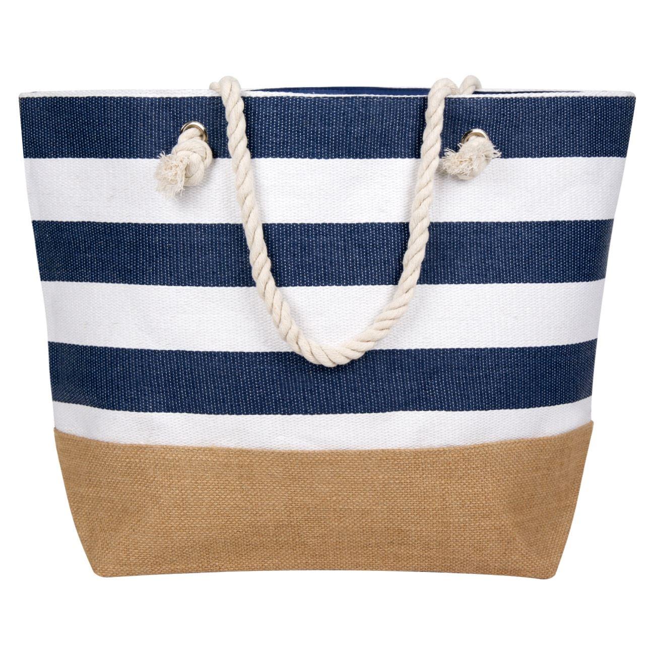 3ed85ac9b9 Τσάντα Θαλάσσης Ψάθινη Λευκή Μπλε Ριγέ 56 εκ.   Τσάντες Ψάθινες