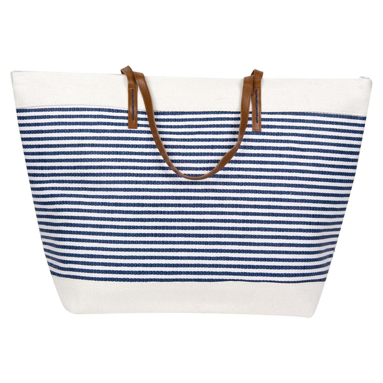 Τσάντα Θαλάσσης Ψάθινη Λευκή Μπλε Ριγέ 60x40x20   Τσάντες Ψάθινες ... 0044b0c93a1