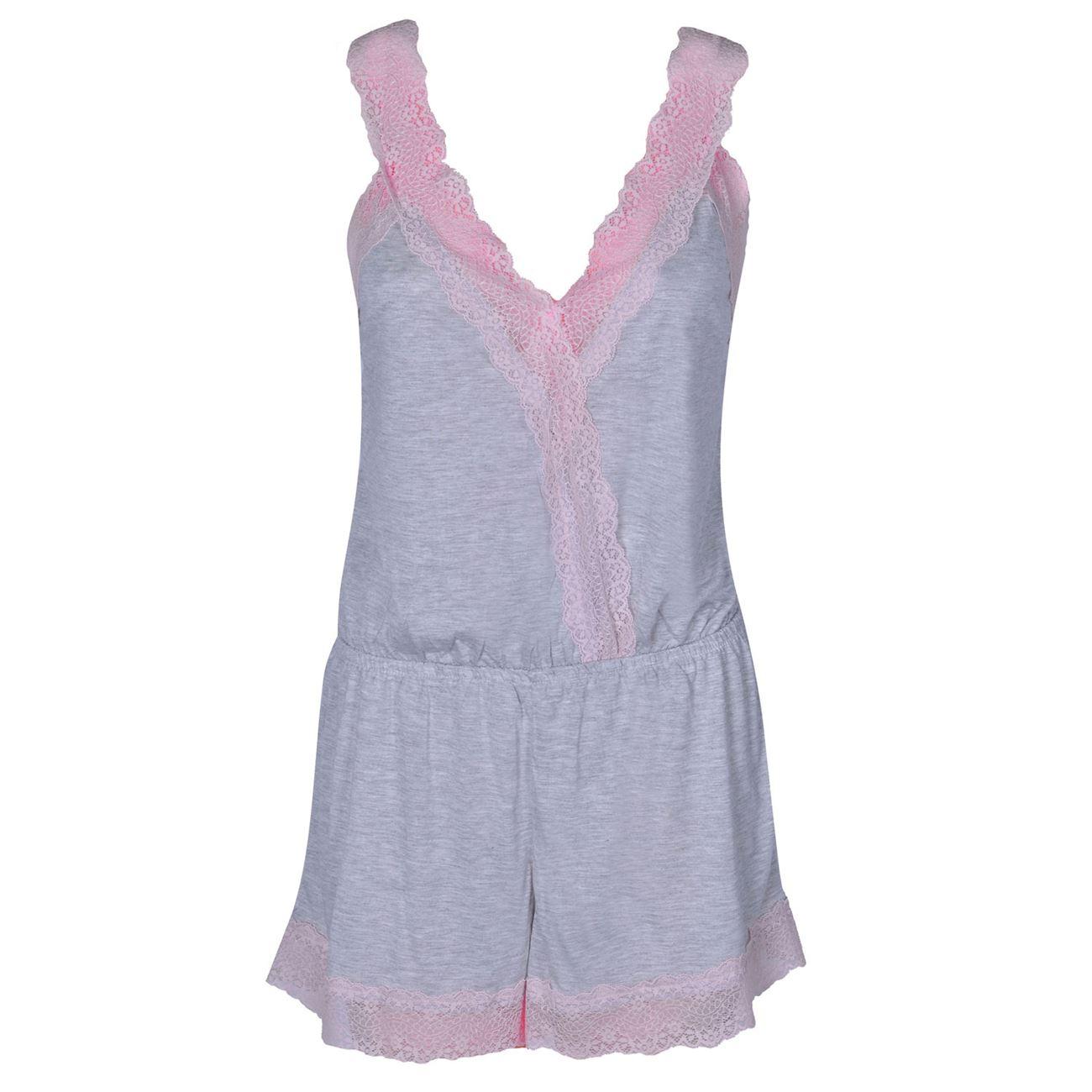 Πυτζάμες Γυναικείες Σαλοπέτα Γκρι Μελανζέ Ροζ Δαντέλα - One Size ... 79383bf24cc