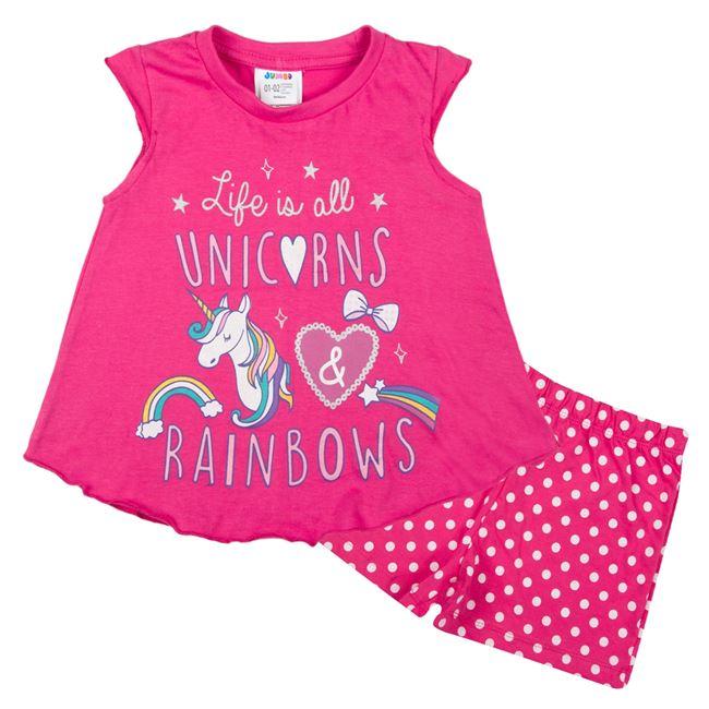 69d1a38d4c1 Πυτζάμες Παιδικές Φούξια Μονόκερος Πουά Σορτσάκι
