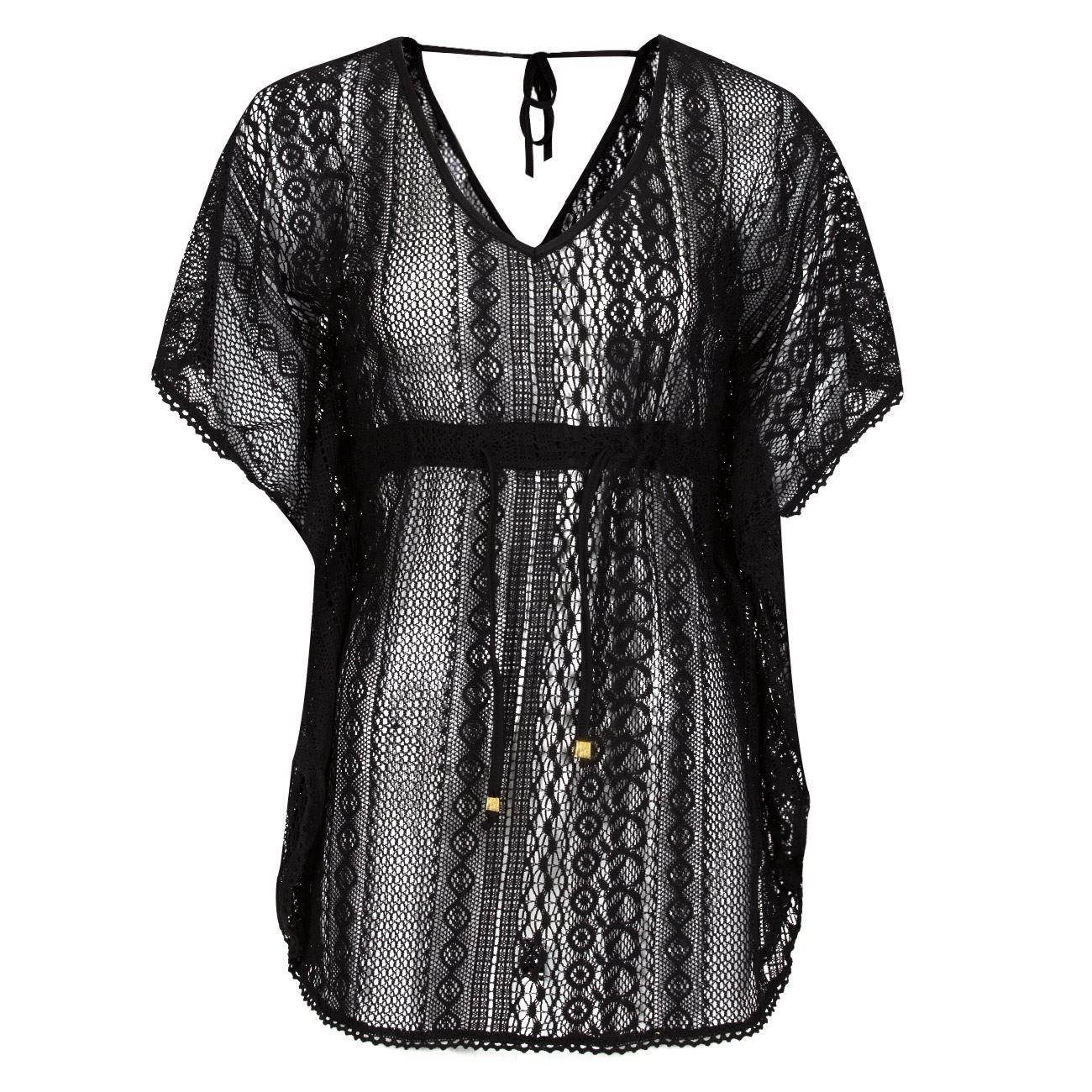 f606e6766101 Φόρεμα Παραλίας Μαύρο Δαντέλα - One Size   Καφτάνια Καλοκαιρινά