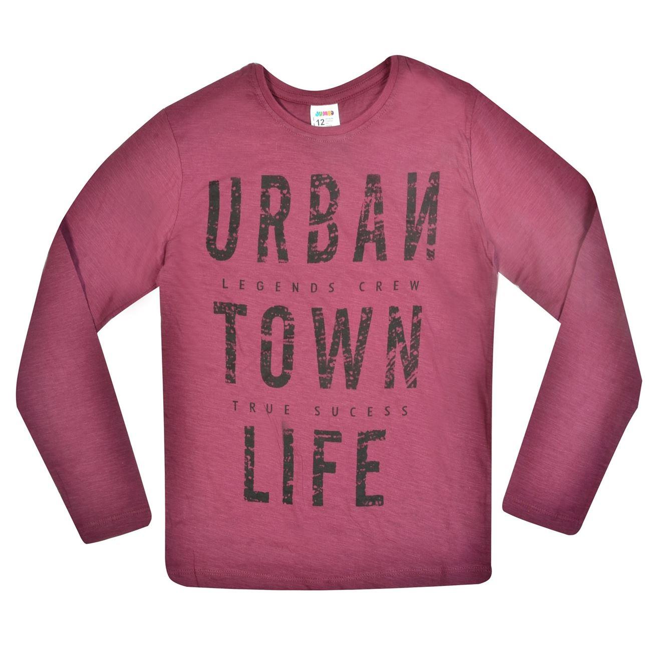 7fd88407b42 Μπλουζάκια Μακό για Αγόρια · Μπλούζα Μακρυμάνικη Παιδική Μπορντό Town Life