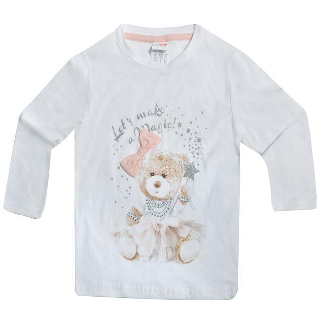 fb592fb54daf Μπλούζα Μακρυμάνικη Παιδική Λευκή Αρκουδάκι Στρας Μπλούζα Μακρυμάνικη  Παιδική Λευκή Αρκουδάκι Στρας