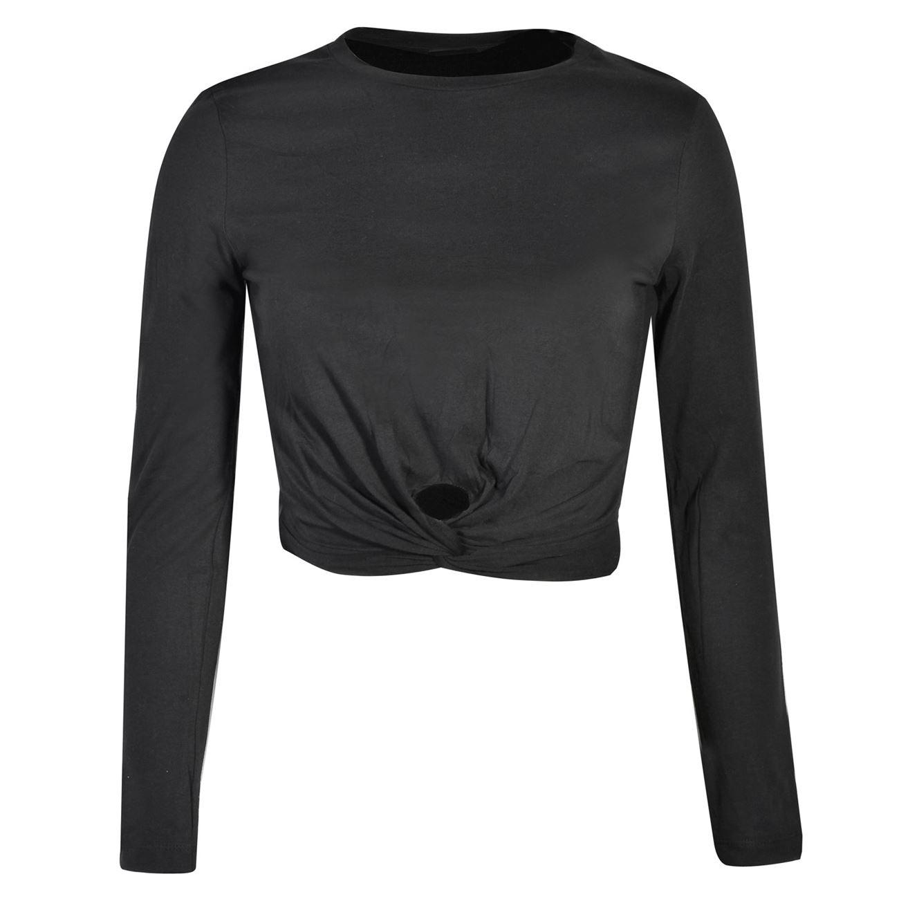 02837b477302 Μπλούζα Μακρυμάνικη Γυναικεία Crop Top Μαύρη Κόμπος - One Size   Μπλούζες  Μακρυμάνικές