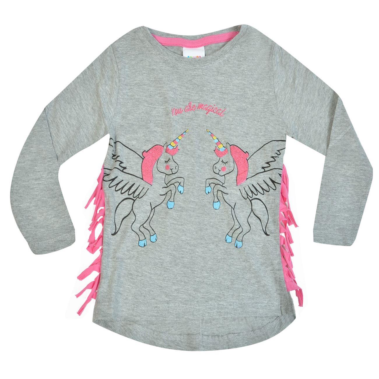 d443ca95154c Μπλούζα Μακρυμάνικη Παιδική Γκρι Μελανζέ Ροζ Κρόσσια Μονόκεροι   Μπλουζάκια  Μακό για Κορίτσια