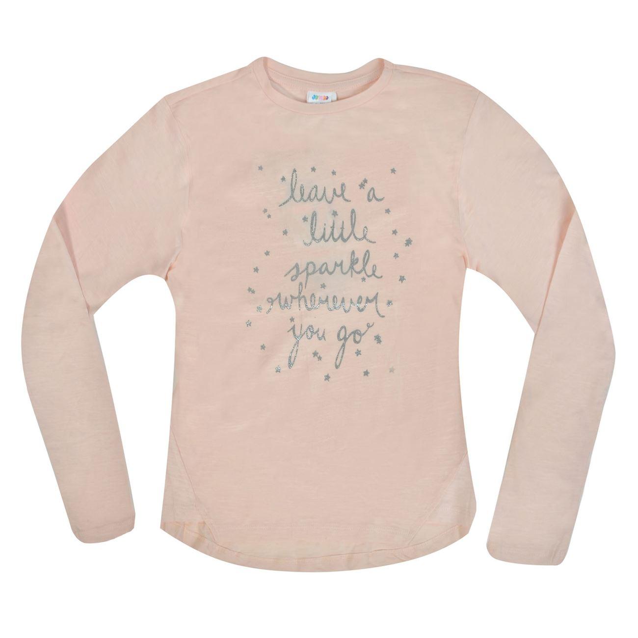 e5f7055a276d Μπλούζα Μακρυμάνικη Παιδική Κοραλλί Ασημί Glitter Τύπωμα ...