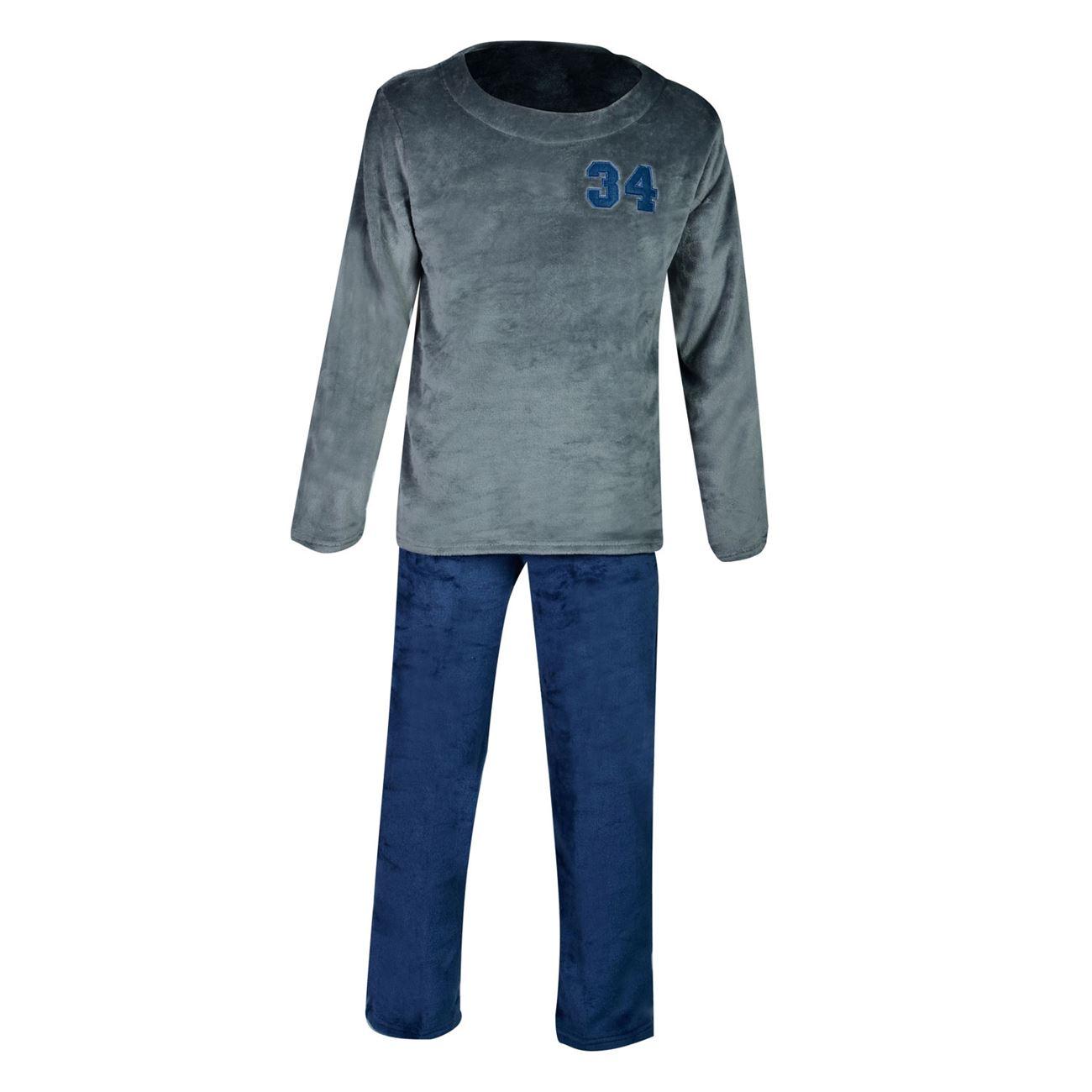 Πυτζάμες Ανδρικές Fleece Μπλε Ανθρακί   Σετ Πυτζάμες Ανδρικές Fleece ... e129ab2b760