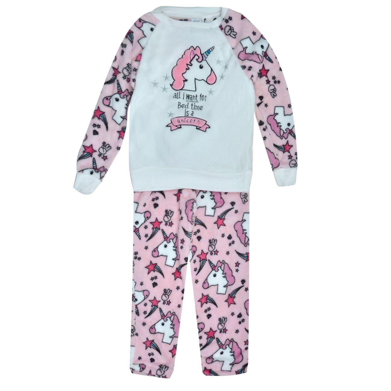 Πυτζάμα Παιδική Λευκή Ροζ Μονόκερος   Πυτζάμες Παιδικές Fleece ... 25526dceb9b