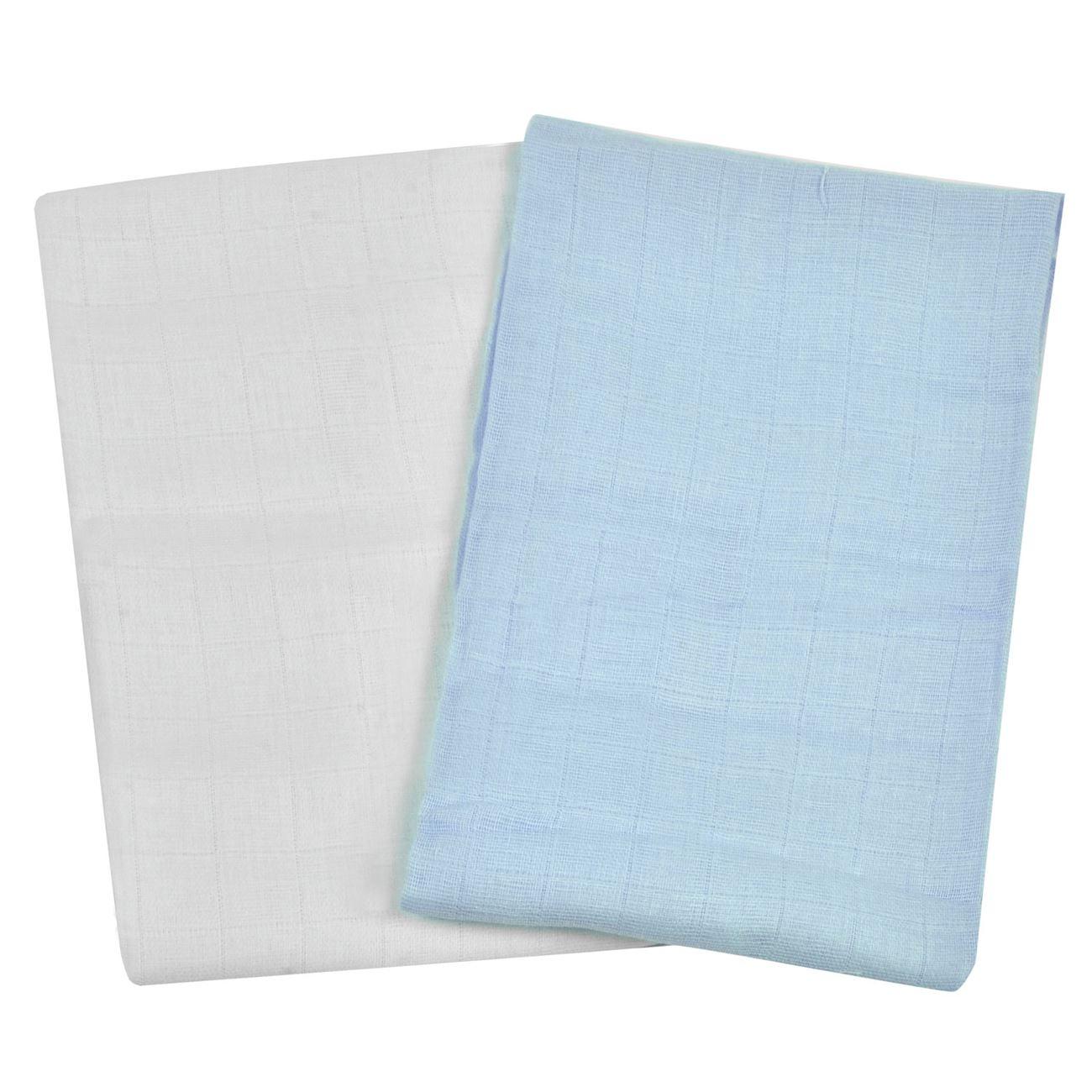 Πάνα Αγκαλιάς Μουσελίνα Λευκό Σιέλ 70x70 - 2 τμχ.   Πάνες Χασέ  be88d639e64