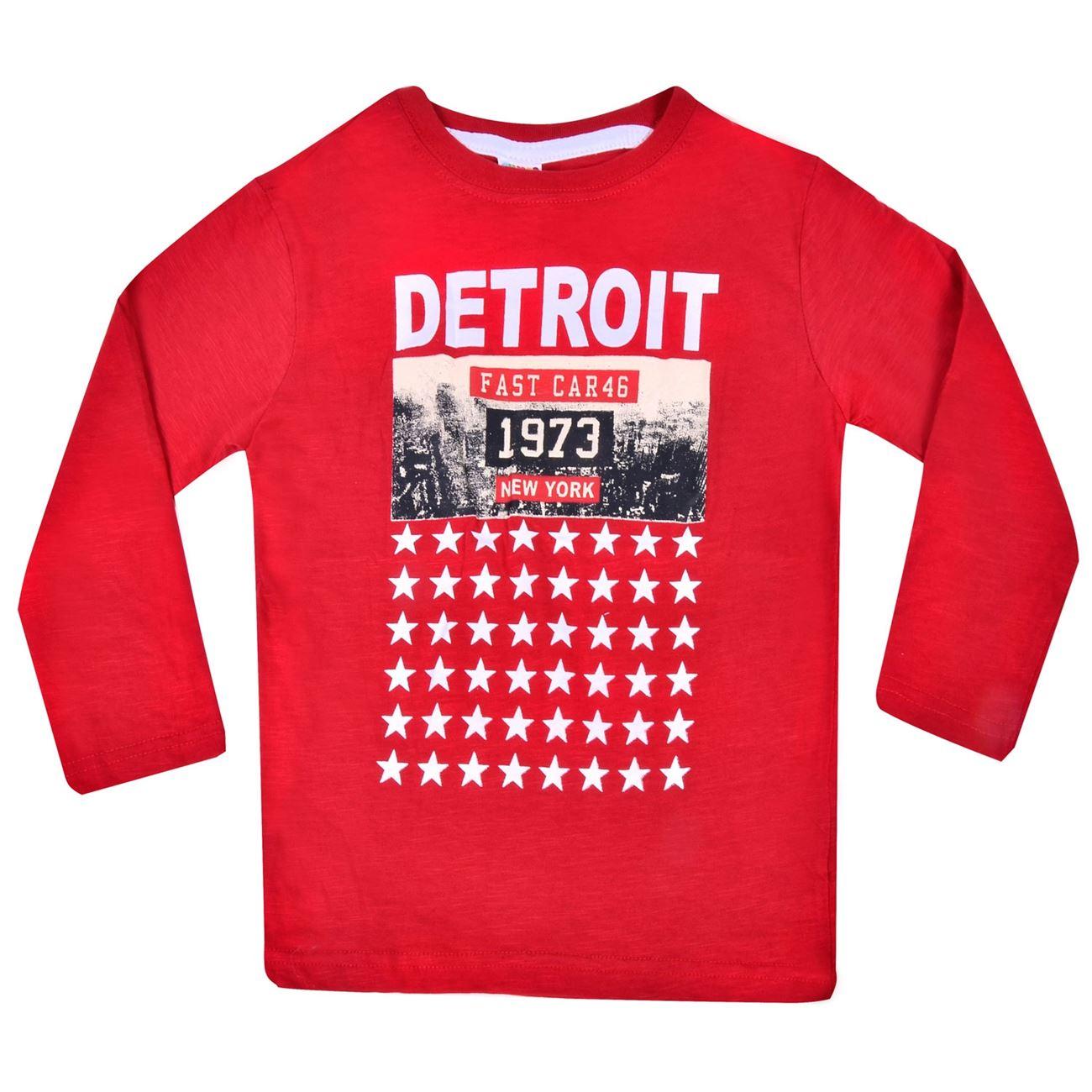Μπλούζα Παιδική Κόκκινη Detroit Τύπωμα   Μπλουζάκια Μακό για Αγόρια ... 4d353000edb