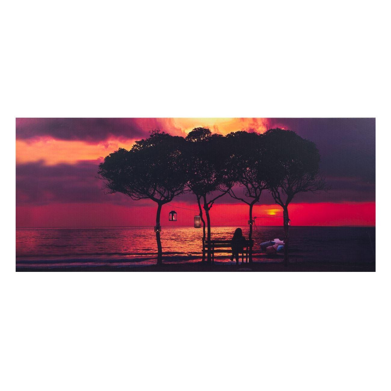 1a51ea23fa4 Καμβάς Φωτιζόμενος Led Ηλιοβασίλεμα Δέντρα 70x30x1.5 cm