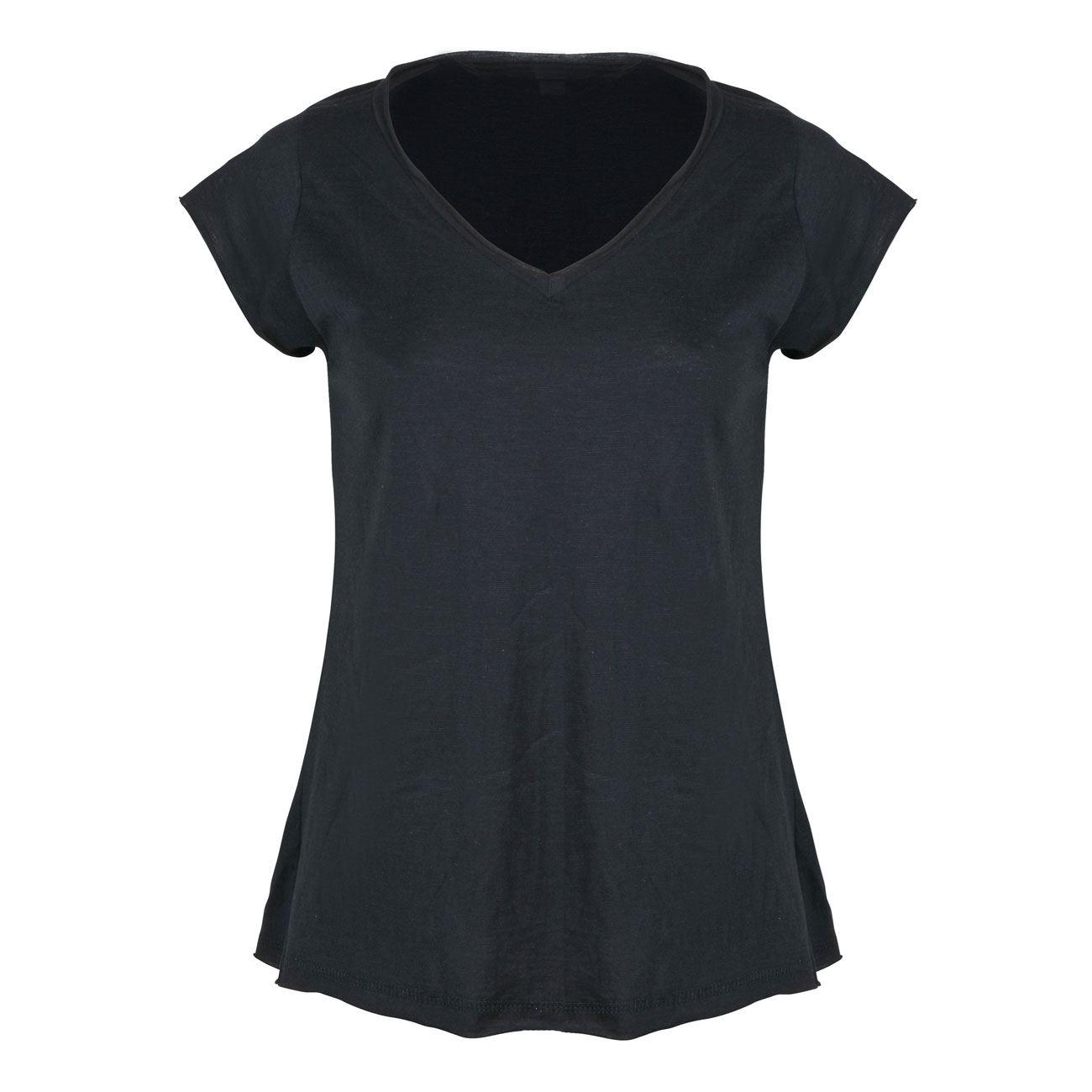 f5829ac8610f Μπλούζα Γυναικεία Κοντό Μανίκι Μαύρη Slub   Μπλούζες Κοντομάνικες Με ...