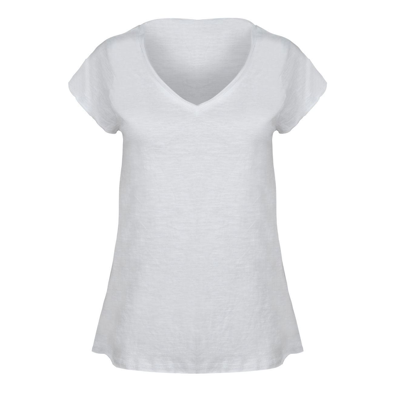 cafff1fb5457 Μπλούζα Γυναικεία Κοντό Μανίκι Λευκή Slub   Μπλούζες Κοντομάνικες Με  Λαιμόκοψη Τύπου V