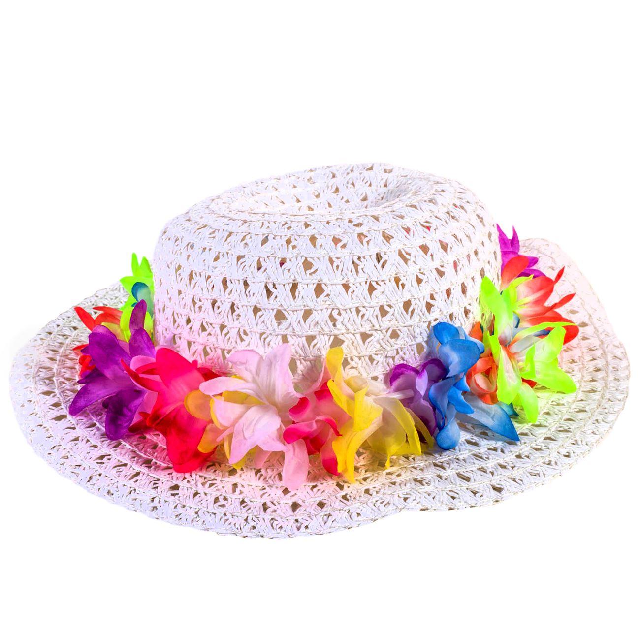 65163c8a365c Καπέλο Παιδικό Λευκό Πλεκτό Πολύχρωμα Λουλούδια   Καπέλα Κοριτσιών  Καλοκαιρινά Ψάθινα